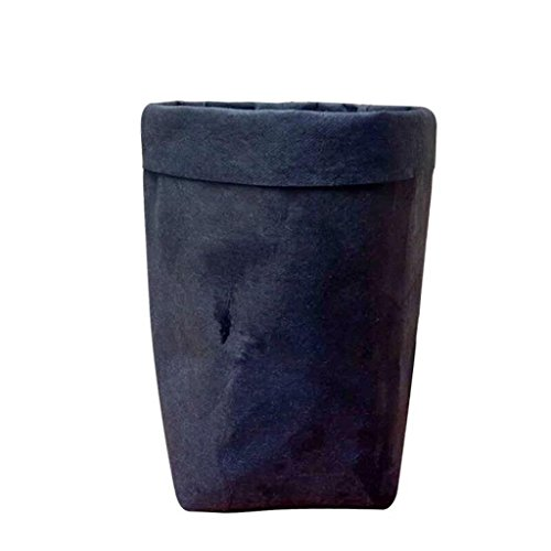 (Clearance Deal! Hot Sale! Storage Bag, Fitfulvan Washable Kraft Paper Bag Plant Flowers Pots Multifunction Home Storage Bag (Black))
