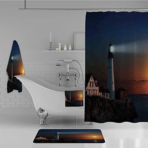 iPrint Bathroom 4 Piece Set Shower Curtain Floor mat Bath Towel 3D Print,Dawn Rocks Houses Fences Lamp Image Navigation,Fashion Personality Customization adds Color to Your (Fine Feather Floor Lamp)