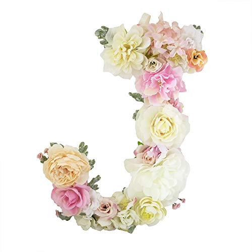 DARONGFENG Rural Style Floral Letters, Handmade Wood Artificial Flower Letter Monogram for Wall Door Desk Top Decoration, Nursery/Baby Shower/Children Room/Wedding /Birthday Party Decor (J) by DARONGFENG