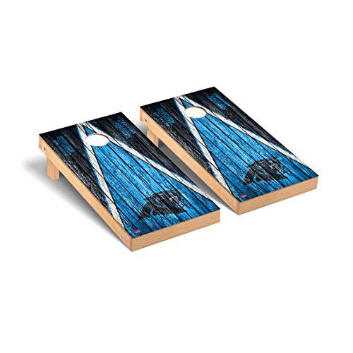 (Victory Tailgate Carolina Panthers NFL Football Regulation Cornhole Game Set Triangle Weathered)