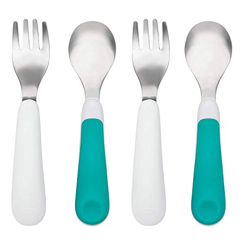 OXO TOT Training Fork and Spoon Set, Teal, 2-Pack