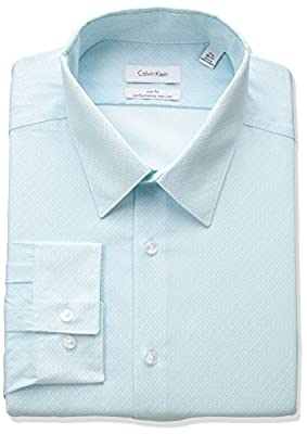 Calvin Klein Men's Non-Iron Slim-Fit Print Point Collar Dress Shirt