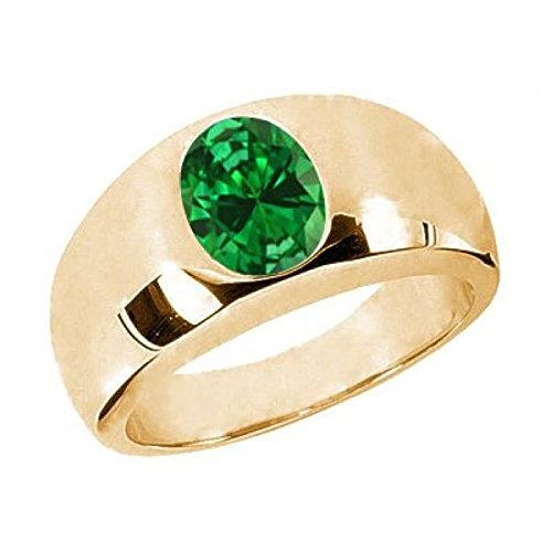 (Gem Stone King 2.10 Ct Oval Green VS Simulated Emerald 925 Yellow Gold Plated Silver Men's Ring (Size 7))