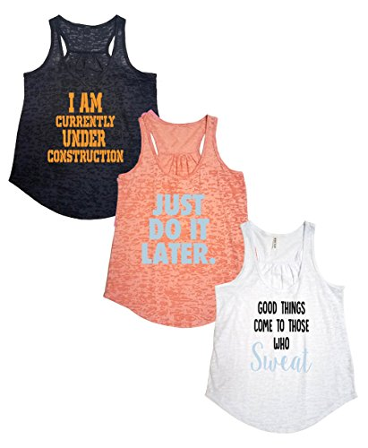 Tough Cookie's Women's Active Wear Burnout Tank Top 3 Pack Deal #5 (Large - Flowy, Black/Peach/White)