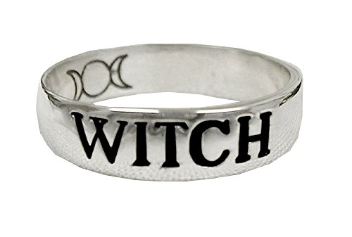 Sterling Silver Band Ring WITCH Size 7 ()