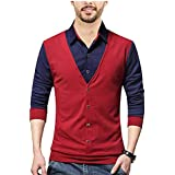 SEVEN SEA Maroon Wine Black Waist Coat t-Shirts