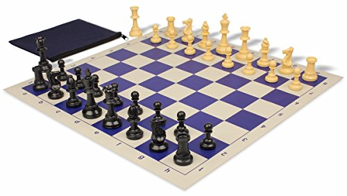Value Club Classroom Chess Set Package Black & Camel Pieces - Blue (Kit Club Value)