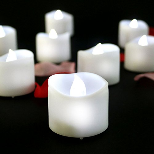 Youngerbaby 12pcs Cool White Battery Operated Candles, Flickering Flameless LED Tea Lights, LED Candle for Wedding Gift Votive Holder, Electric Warmer