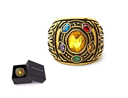 Wooworld Thanos Rings Infinity War Soul Stone Power Ring Gold Ring Cosplay Costume Prop (alloy1, 7) -