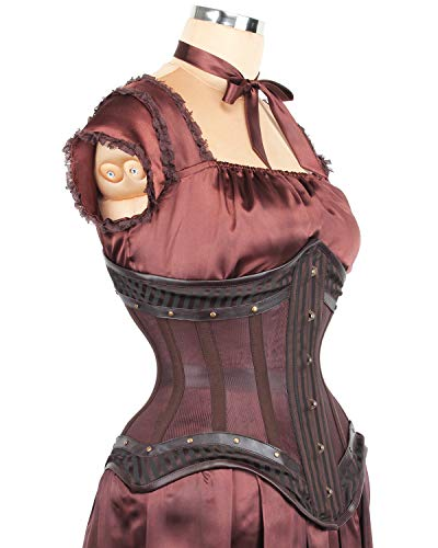 a58d36c47e7 Elyzza London Steel Boned Waist Reducing Mesh with Brocade Gothic Corset at  Amazon Women s Clothing store