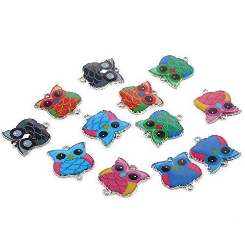 celine fashion Handmade: 10 Pcs Cute Cartoon Animal Enamel Alloy Connectors Necklace Pendant for Kid Handmade Jewelry Gift Cat Elephant Owl Multi-Shape ()