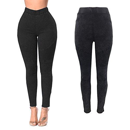 juqilu Push Vaqueros Sólido Treggings Bolsillos con Leggings Colores S Pantalones Cintura Up 2XL Color Negro 4 de Ajustados Pantalones Alta AqAnrPv