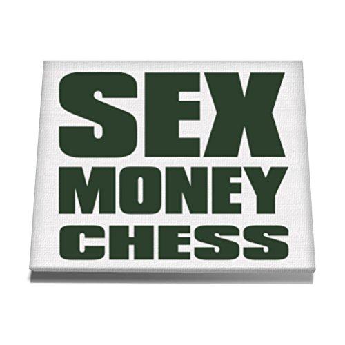 Teeburon SEX , MONEY Chess Canvas Wall Art 12 x 8 Inch