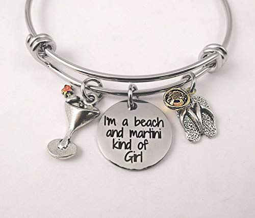 Martini Bracelet - I'm A Beach and Martini Kind of Girl Bracelet or Necklace, Toes In the Sand, Beach Girl, Martini Necklace, Cosmo, Dirty