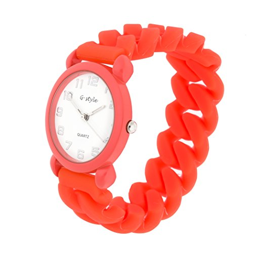 Watch for Kids Children Boys Girls Red Rubber Band Colorful Solid Color Perfect Gift (Orange Rubber Watch)