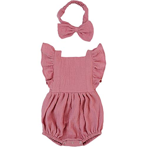 (Luckikikids Baby Romper Girl Organic Cotton 0-3 6 9 Months Baby Girl Boutique Clothing Double Gauze Puff Sleeve Infant Bubble Outfit(Dusty Pink,)