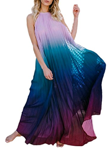 Halter Dress Dye Backless Tie Ball Coolred Beach Chiffon Stylish Neck Women Gown Purple Maxi 8qnz7