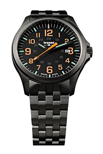 traser P67 Officer Pro Gunmetal Orange Numerals Gunmetal PVD Stainless Steel Men's Watch 107870