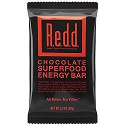 Redd Gluten Free Vegan Superfood Energy Bar, Chocolate, 12 Bars