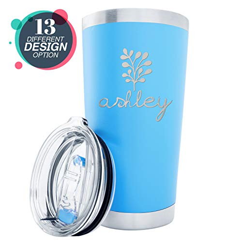 Monogram Travel Mugs - Personalized Tumblers, Stainless Steel 20 oz Tumbler w/Lid |13 Different Designs| Personalized Cups Double Walled Insulated Coffee Cup for Travel, Work, Gym, Fitness | Hot and Cold Drink - Sky Blue