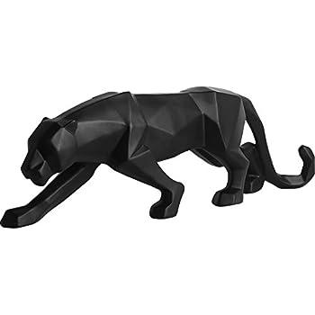 Abstract Black Panther Sculpture Figurine Handicraft Home Desk Decor Geometric Resin Wildlife Leopard Statue Craft (Black)