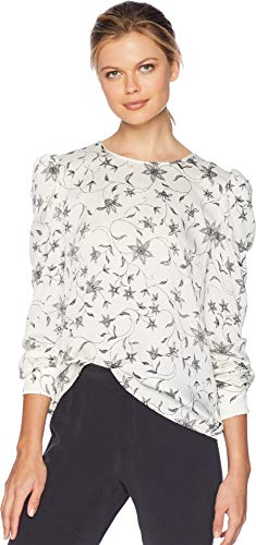 Vince Camuto Womens Puff Shoulder Long Sleeve Faux Stitch Floral Blouse Antique White ()