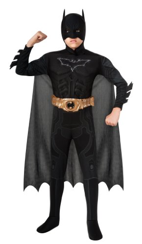 Knight Costumes Mask (Batman Dark Knight Rises Child's Deluxe Light-Up Batman Costume with Mask and Cape - Medium)