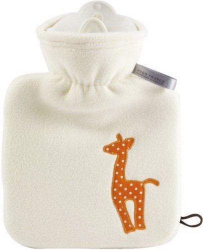 Hugo Frosch Kinderwärmflasche Junior 0,6 Ltr. mit Teddy Doublefleeceüberzug weiß Stickapplikation
