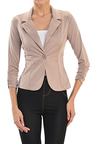 - YourStyle USA Casual Three Quarter Sleeve Fitted Blazer-Made in USA (Small, Khaki)