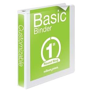 Wilson Jones 3 Ring Binder 1 Inch, Round Ring View Binder, Basic, 362 Series, Customizable, White (W362-14W)