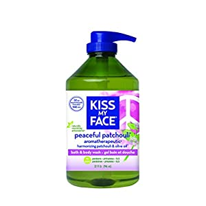 Kiss My Face Peaceful Patchouli Moisturizing Shower Gel, Bath and Body Wash, Value Size 32 oz