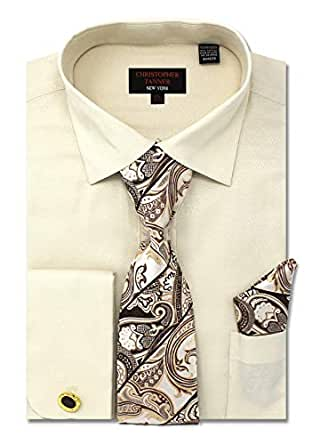 Christopher Tanner Men's Regular Fit Dress Shirts with Tie & Handkerchief Cufflinks Combo Solid Micro Pattern Beige