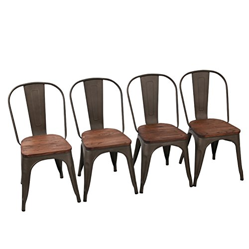 Seat 250 Lb Cap (Tolix-Style Dining Side Chairs [Set Of 4] Stackable Metal Chair With Backrest for Indoor/Outdoor, #03 Wooden Seat)