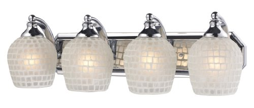 Elk 570-4C-WHT 4-Light Vanity In Polished Chrome and White Mosaic - Online Tiffany Outlet