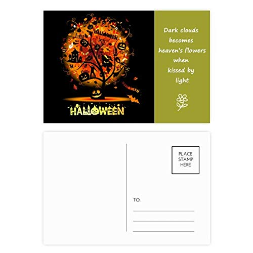 (Halloween Cartoon Tree Pattern Poetry Postcard Set Thanks Card Mailing Side)