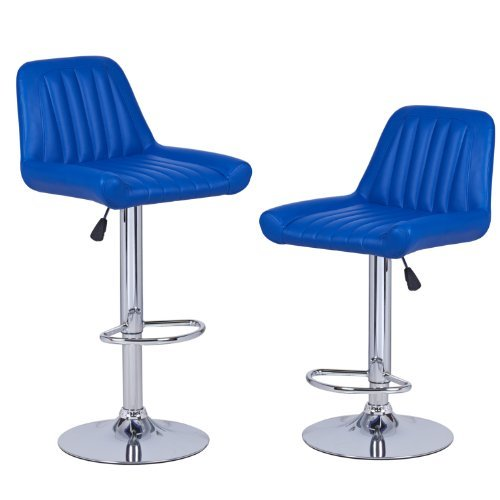Adeco Hydraulic Lift Adjustable Leatherette Barstool Chair Vertical Tufting Chrome Finish Pedestal Base (Set of 2), Bright Blue (Pedestal Upholstered Rectangular)