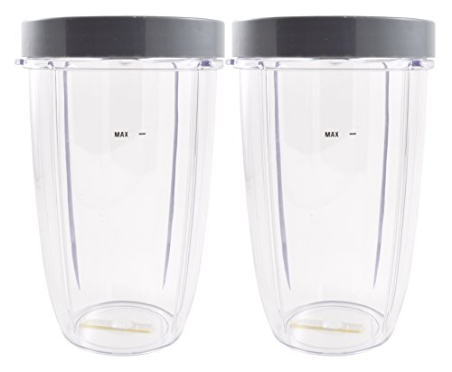 Nutribullet Blender 24 oz Tall Cup with Drinkable Rim (2 Pack) | Two Large Premium Boder Plastic Replacement Containers for Pro 900 Watt or 600 Blenders by Boder
