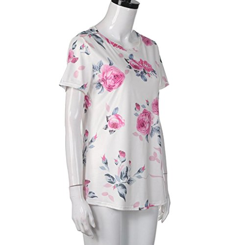 Women's Tee,Neartime Pink Flower Printed Short Sleeve Tops T Shirt for Woman (XL) Photo #2