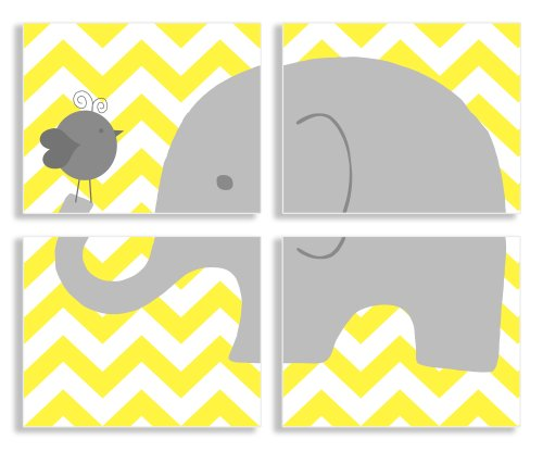 The Kids Room By Stupell Gray Elephant And Birdie On Yellow Chevron 4-Pc Rectangle Wall Plaque Set, Proudly Made in USA
