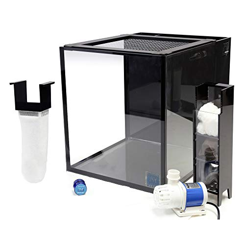 (Innovative Marine Nuvo Fusion PRO 10 Gallon AIO (All-in-one) Aquarium with Mighty Jet DC Return Pump, Custom Caddy (Media Included), Filter Sock, Leveling Mat, Assembled Mesh Screen Cover, MicroMag)