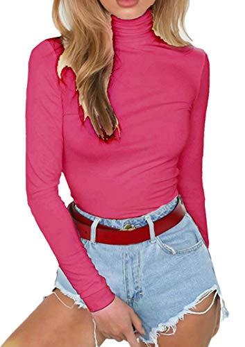 (PALINDA Women's Long Sleeve Striped Basic Solid Round Neck Bodysuit Stretchy Leotards (M, Rose Pink))
