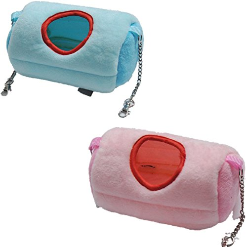 Fully 2x Sleeping Bag Pet Beds Cave Mat Cozy Warm House Warming Sack for Chinchilla Hamster Rabbits (color random) (Size L: 20x10X10cm/7.87x3.93X3.93, random)