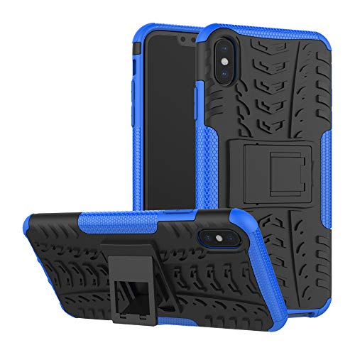 For iPhone XR Military Grade Case With Kickstand Tough Armor Cover Heavy Duty Hybrid Rugged Holster Rubber Shockproof Shell (Not Bulky) (Blue)
