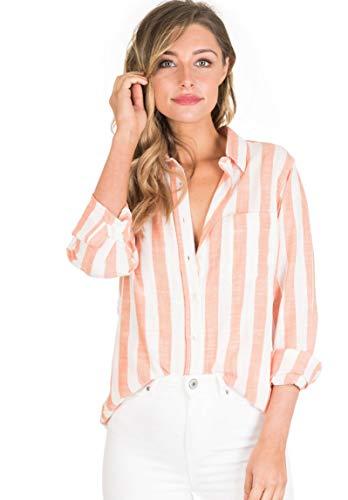 CAMIXA Women's Striped Shirt Casual Long Sleeve Button-Down Drapy Collar Blouse M Orange/White (Orange And White Striped Long Sleeve Shirt)