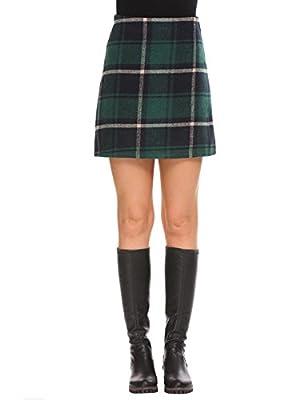 Declare Womens Slim Autumn Plaid Woolblend High Waist Bodycon Skirts(Green XL)