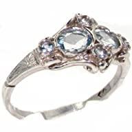 VINTAGE Design 925 Solid Sterling Silver Genuine Natural Aquamarine Ring – Finger Sizes 4 to 12…