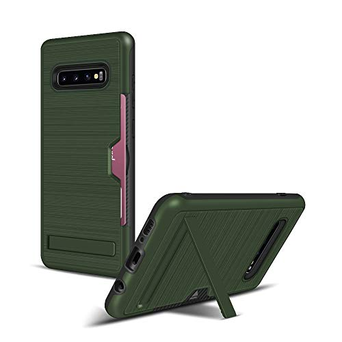 Galaxy S10 Plus Case, Ankoe Heavy Duty Protective Cover Ultra Thin Dual Layer Rugged Armor Hybrid PC+Soft TPU with Kickstand Card Slot Holder Case Cover for Samsung Galaxy S10 Plus (Army Green)