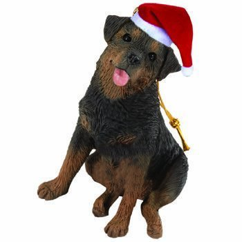 Sandicast Ornament - Rottweiler in Santa Hat-2010 by Sandicast