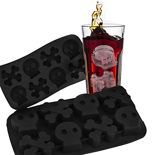 VIWIEU 3D Skull and Crossbones Small Silicone Molds for Candy Chocolate Cake Baking for Halloween, 2 PCS Pirate Party Ice Cube Trays for Whisky Cocktail, DIY Bath bomb Dog treat Soap Candle Molds -