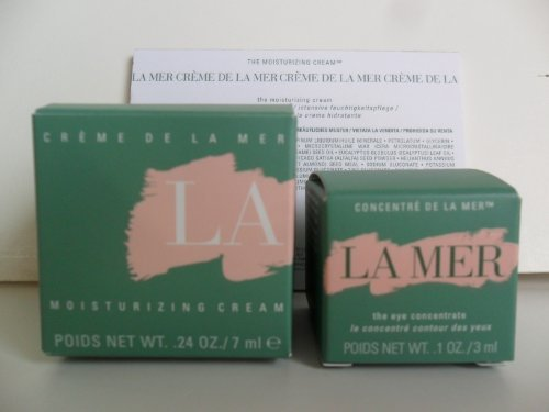 La Mer Skincare Set 2 Pieces: The Moisturizing Cream .24 oz / 7ml New In Box + The Eye Concentrate .1 oz / 3ml New In Box. Deluxe Travel Size Set.